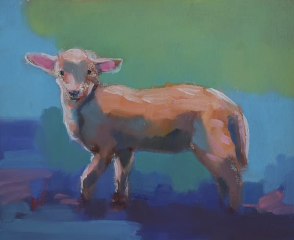 Lamb   Original Oil On Paper Mounted On Canvas Art | Sharon Guy