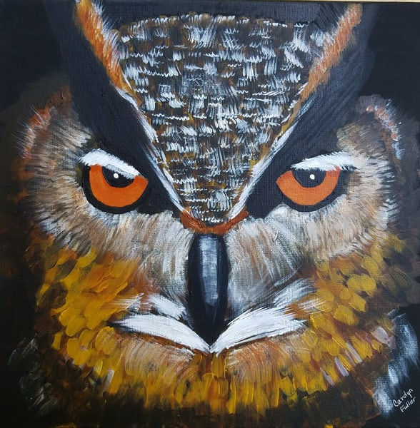Carolyn Fuller - original artwork - animals - birds - owl - Great Horned Owl