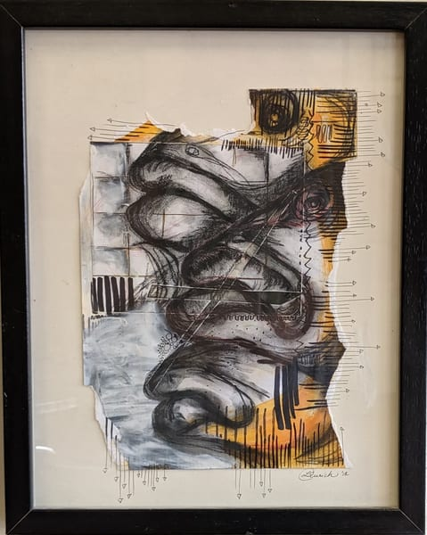 Laurie Eurich - original artwork - abstract - animals - fish - Against the Grain I