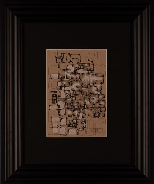 Laurie Eurich - original artwork - abstract - pen and ink - white charcoal - City Streets
