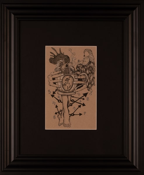 Laurie Eurich - original artwork - abstract - pen and ink - charcoal - Father Time