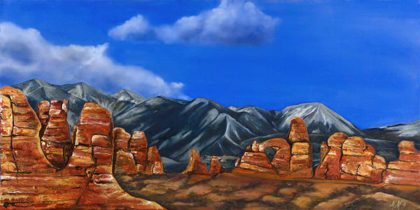 Arches National Park | Original Mixed Media Painting Art | MMG Art Studio | Fine Art Colorado Gallery