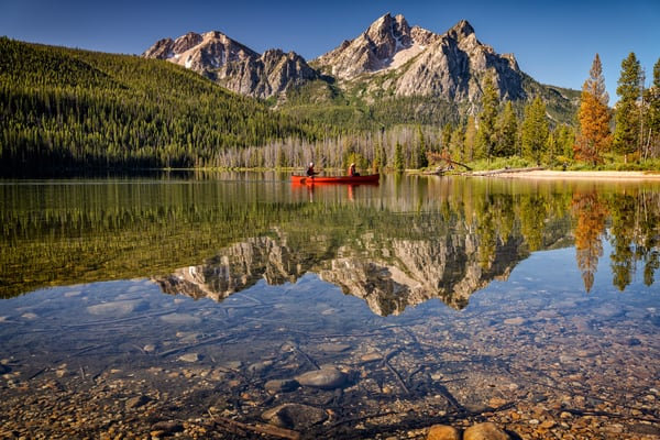 Canoing on Stanley Lake | Shop Photography by Rick Berk