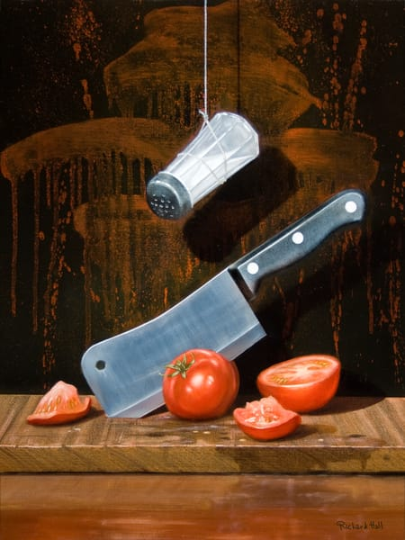 A Salt with a Deadly Weapon | humor | knife & tomatoes | killer art