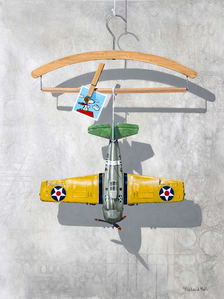 Airplane Hanger | Giclee | Toy airplane | Visual pun |Snoopy | Pilot