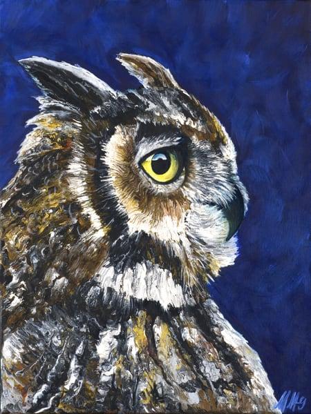 Owl | Original Mixed Media Painting Art | MMG Art Studio | Fine Art Colorado Gallery