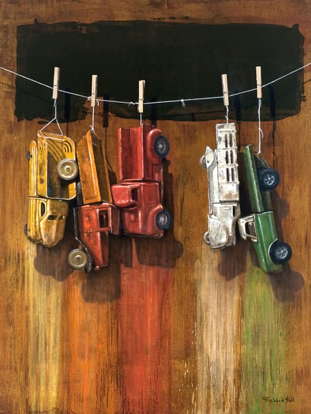 Car Wash | visual pun | trucks drying on a line | Richard Hall print