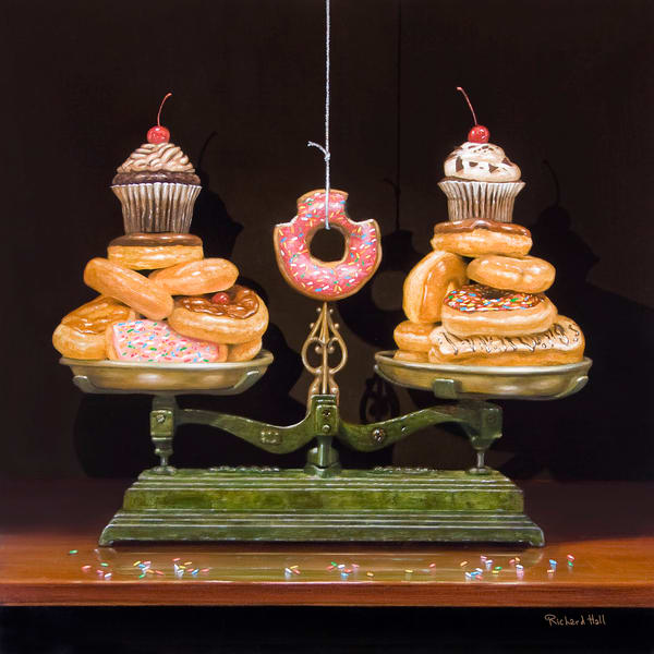 Balanced Diet | Donuts | scale | humorous kitchen print | Richard Hall