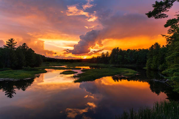 Moose River Sunset Orange Photography Art | Kurt Gardner Photogarphy Gallery