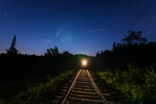Neowise Comet, Train And Space Station Photography Art | Kurt Gardner Photogarphy