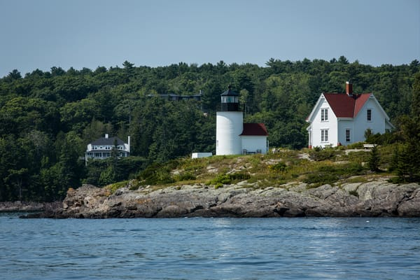 Camden, ME - 11 August 2014. Curtis Island light at the entrance to Camden. The lighthouse is owned and maintained by the town of Camden.
