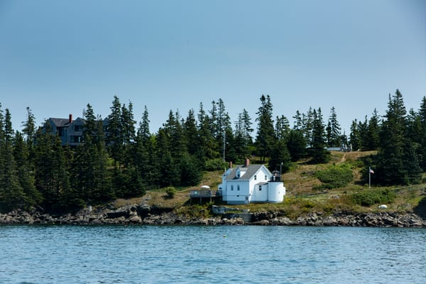 Browns Head, ME - 11 August 2014. Browns Head light, Fox Island Thorofare.