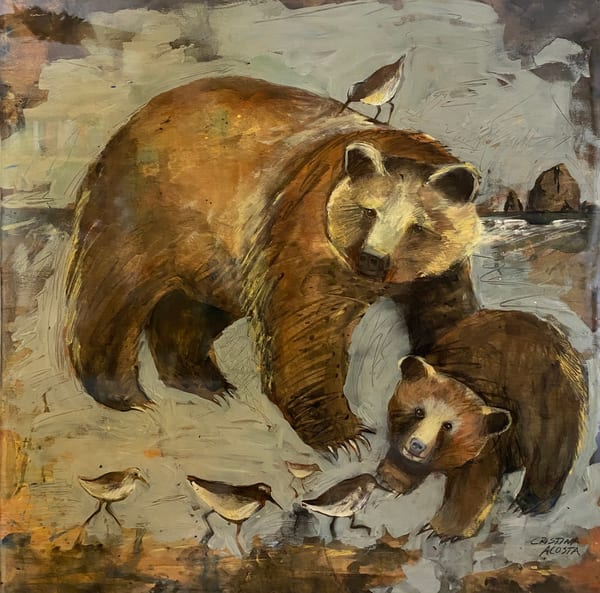 Bears By The Sea: Mama Bear And Cub With Sand Pipers Art | Cristina Acosta Art & Design llc