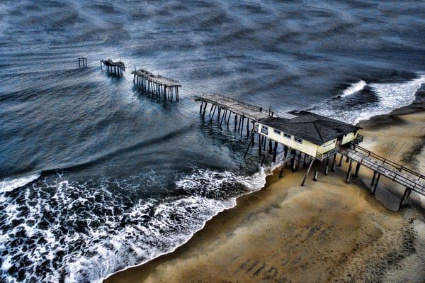 Aerial Friscon Pier Outer Banks Photography Art | Art Sea Love