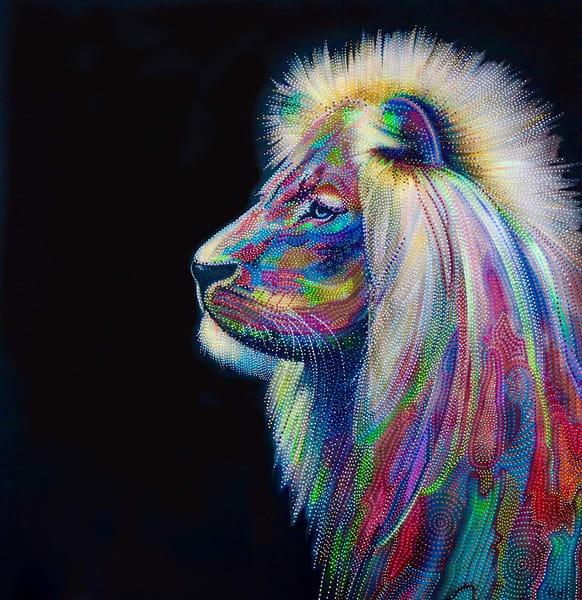 king, lion, mane, roar, captivity, modern, modern-animal, feline, modern-art, contemporary, interior-design, home-decor, wall-art, black, rainbow, king-, lion-art, pointillism, erin-conn, fine-art, colourful