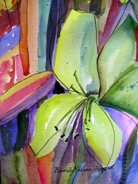 Green Lily 1, From on Original Watercolor Painting