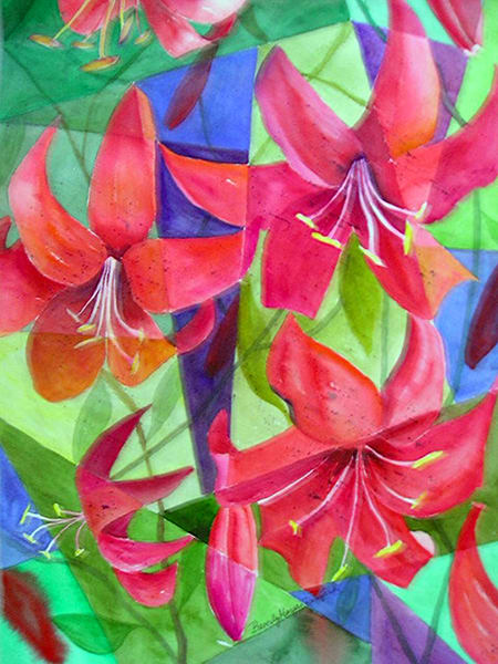 Fractured Lilies, From an Original Watercolor Painting