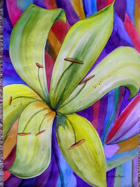 Green Lily 2, From an Original Watercolor Painting