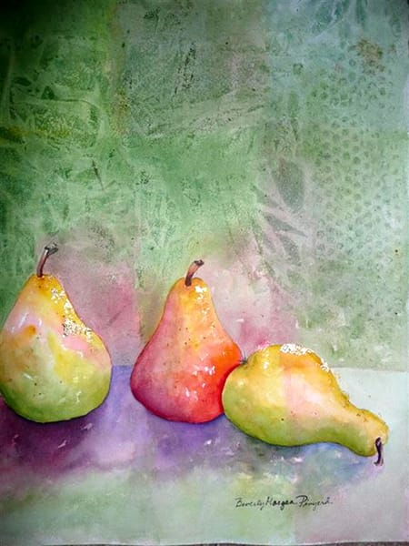 Golden Pears, From an Original Watercolor Painting