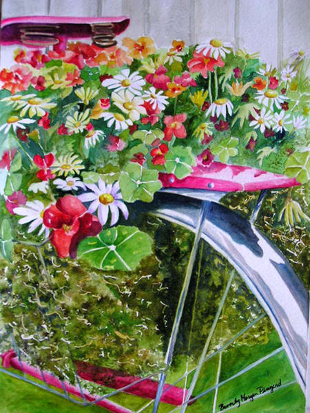 Bike and Flowers, From an Original Watercolor Painting