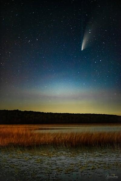 The comet NEOWISE over Kangaroo Lake