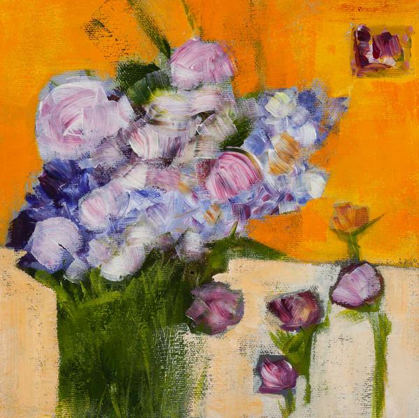 Bouquet Sur Fond Jaune Art | i Ghibu - Art