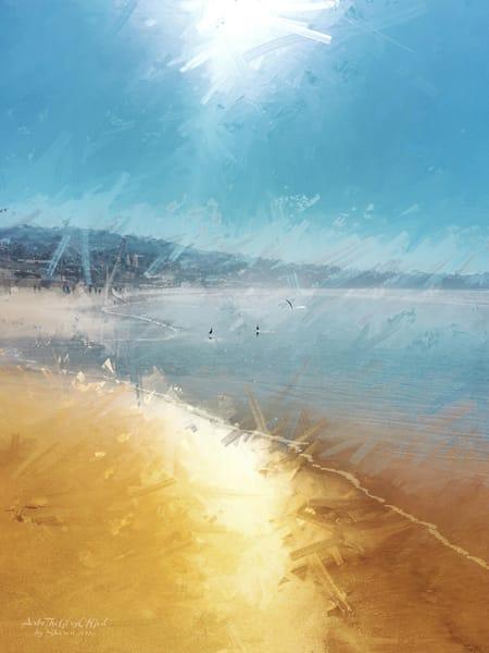 """La Jolla Shores Midday Seagulls"" - digital painting photographs"