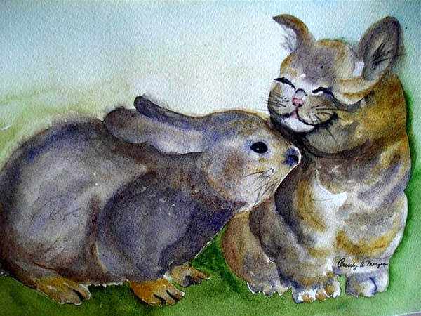 Bunny & Kitten, From an Original Watercolor Painting