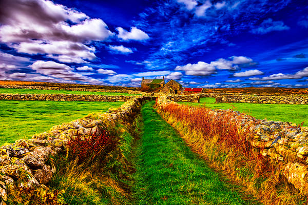 Old English Farm, Cornwall - Art of England Print by Christopher Gatelock