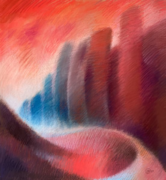 Red Cityscape Abstract Pastel Painting