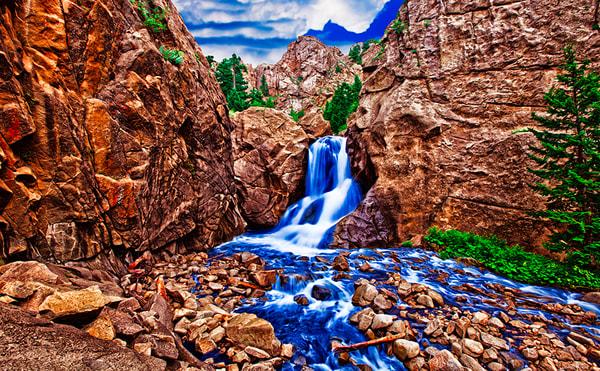 Boulder Falls - Art of Colorado Print By Christopher Gatelock