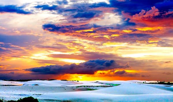 Sunset Over Jeri Sand Dunes - Art of Brazil Print by Christopher Gatelock