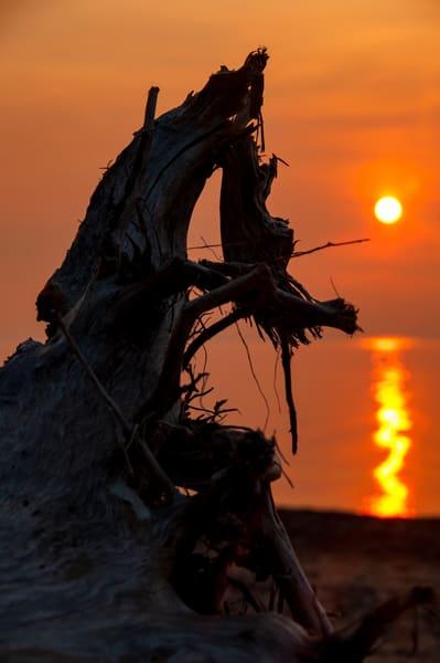 Drifting Sunset lake michigan beach
