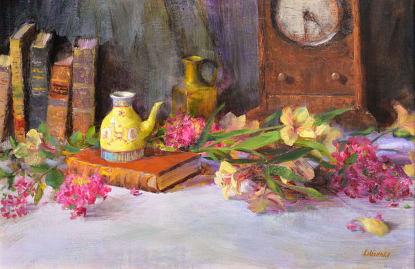 Antique Books And Chinese Teapot Art | Liliedahl Art