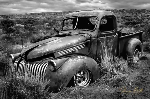 B W Abandoned Truck  Art | Sharon Beth