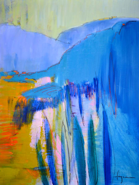 Oversize Blue Abstract Landscape Painting by Dorothy Fagan