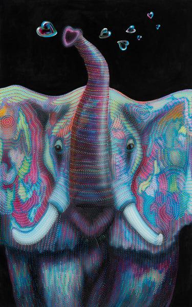 bubbles, elephant, kids-art, bubble-art, elephant-art, elephant painting, pointillism