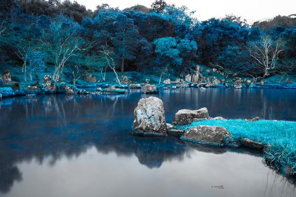 Zen Garden, Japan, Lake, Blue