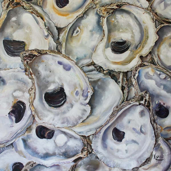 Oyster Shells Original Oil Painting by Coastal Artist Kristine Kainer