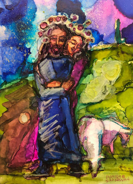 """Garden of the King 3""  by Monique Sarkessian prophetic art alcohol ink painting of Jesus as the Beloved King in His garden, as personified in Song of Solomon."