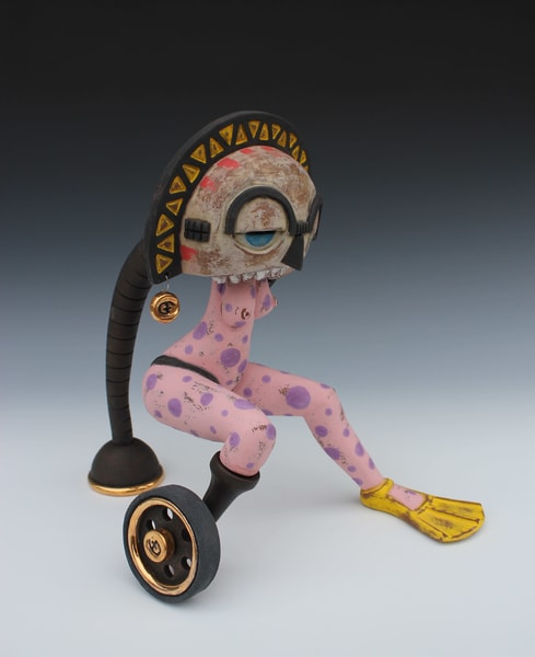 Contemporary Fertility Figure W/ Cyborg Prosthetic And Inspired Mblo Group Moon Mask Art | Gerard Ferrari LLC