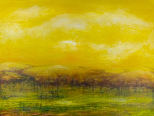 Deb Ondo Wild Art original oil painting with mountains and purple trees, a wide open yellow sky and a peaceful river below.