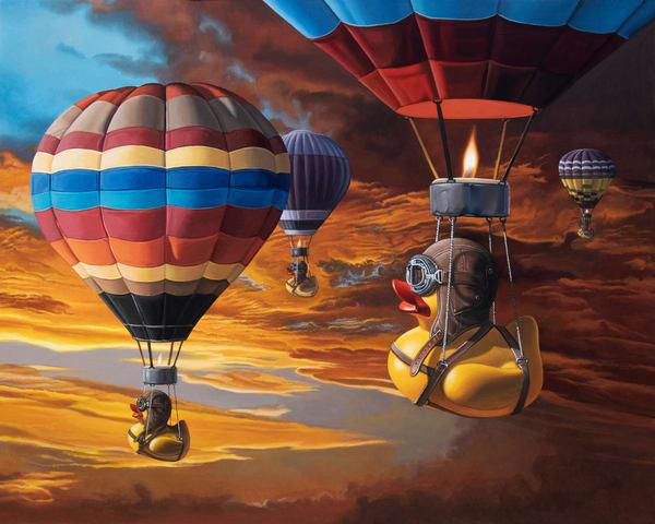 """""""Air Ducks"""" shows rubber ducks hot air ballooning"""