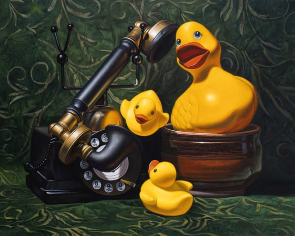 """""""Duck Call"""" shows rubber ducks using the phone"""