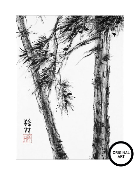 sumi-e, pinetree, six, black, ink