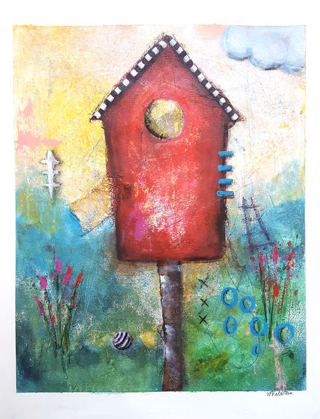 The Birdhouse  | Original Painting on Paper