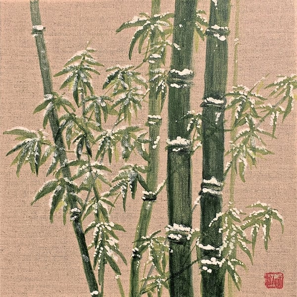 Green Bamboo In Snow Art | donnadacuti
