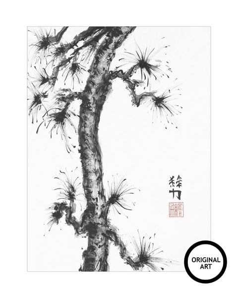 sumi-e, pinetree, seven, black, ink, original-art