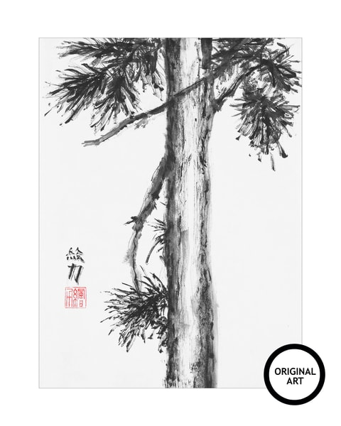Black & white ink Pinetree Nine original art in sumi-e tradition.