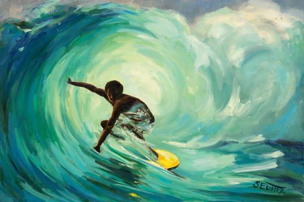 Surfer Art   Goldwoman Fine Art